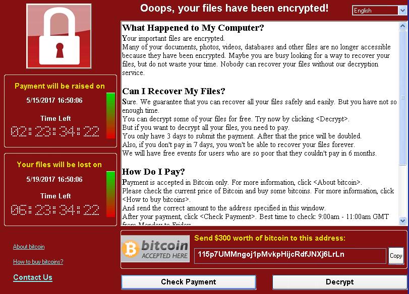WannaCrypt 画面