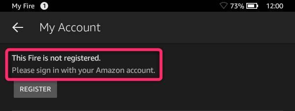 Amazonアカウントが設定されていない