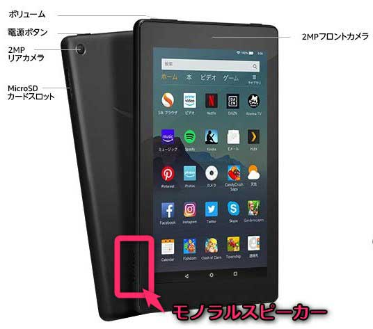 Fire 7タブレット 2019年版 表面・裏面