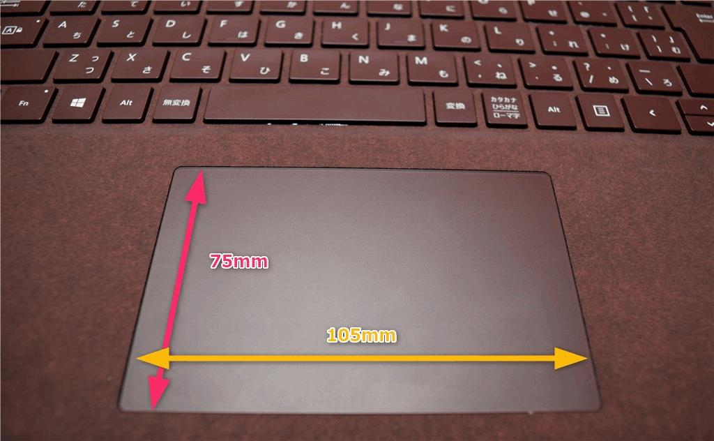 Surface Laptop タッチパッドのサイズ