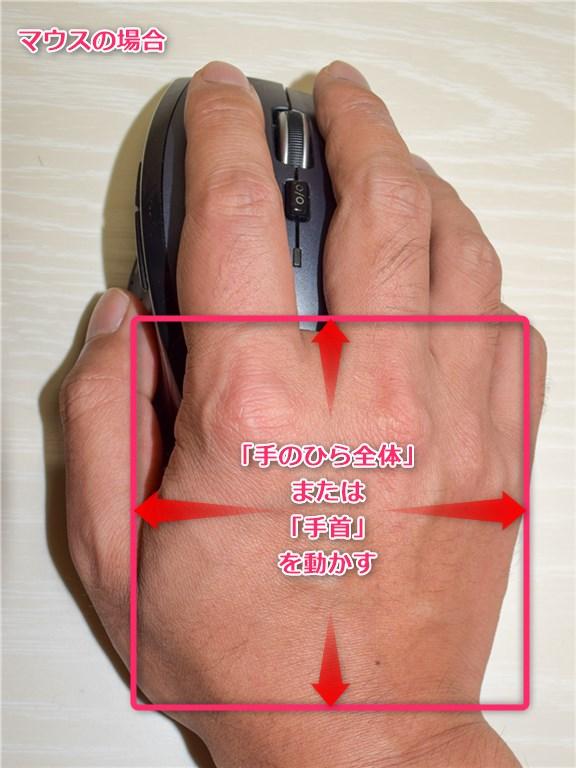 マウスは手のひらで動かす
